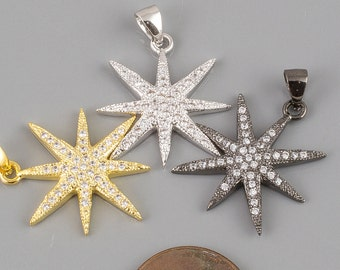 Starburst CZ Gold Pave 23mm Pendant