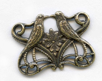 Oxidized Stamped Brass Filigree Art Nouveau style love bird connector. 15x20mm Pkg of 3. b9-0488(e)