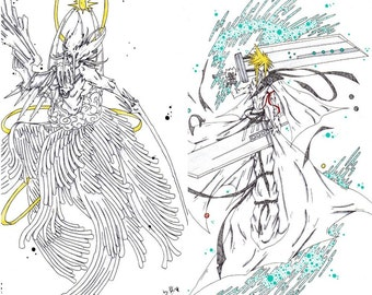 Final Fantasy 7 Cloud and sephiroth prints