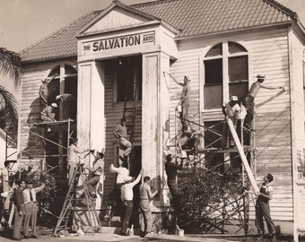 Volunteers at the Salvation Army, Vintage Photograph, Boys of Summer, Home Improvements, Black and White Photo, Renovation Project