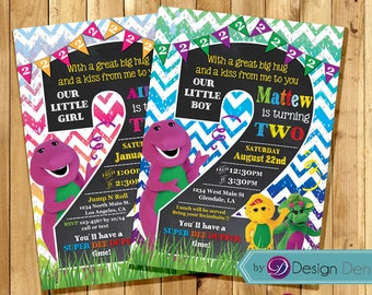 Barney and Friends 2nd Birthday invitation. Colorful , Number invitation, Age 2, Chalk Board Cards. Printable Digital. #C1031