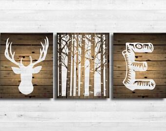Nursery deer wall print,canvas art personalized woodland,rustic bedding,wall decor,wooden deer,forest baby canvas art,gender neutral 116