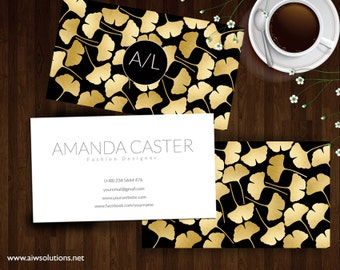 Ginkgo Leaf business card,Ginkgo Leaf gold Name Card, Photography name card, calling cards, DIY business cards, Ginkgo Leaves  gold
