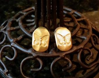 Gold Tone Butterfly Impression Pierced Post Earrings