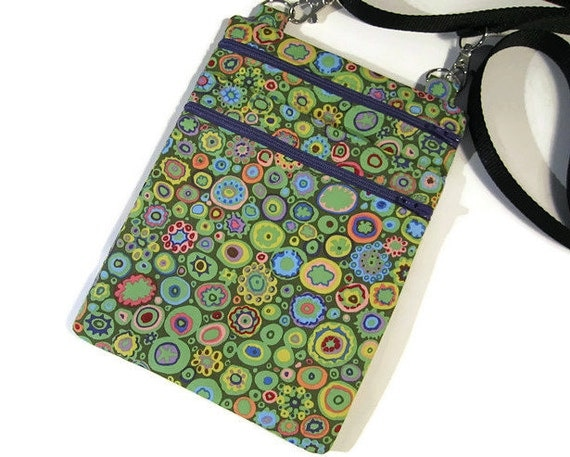 Fabric cross body bag Kaffe Fassett sling bag Cell phone