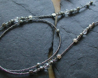 Silvery Moon Glass Beads Glasses Chain Spectacles Holder