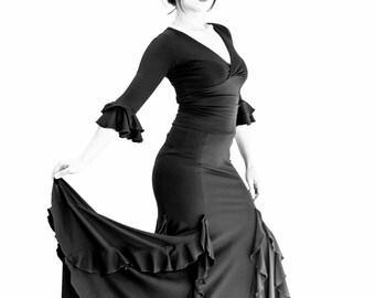 black spandex ample flamenco skirt