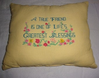 Friend cross stitch yellow pillow