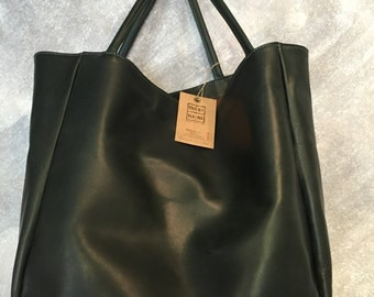 Large shoulder tote bag cowhide