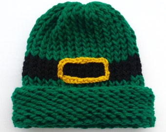 St. Patrick's Day Hat Leprechaun Hat Green Hat Baby Infant Toddler Child's Teen Adult Knitted Leprechaun Hat Green Holiday Hat Knitted Hat