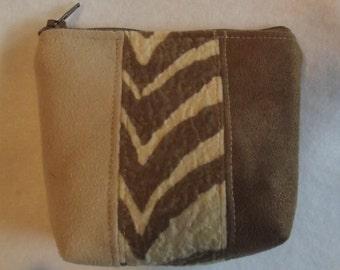 Handmade Zebra Suede leather Change Purse