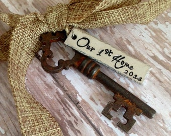 Our First Home 2016 2017 Antique Skeleton Key Ornament - Mr and Mrs - Newlyweds - 1st Christmas - First Home - New Home - 1st Home
