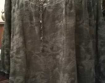 Blouse in cotton print dark gray and Black Lace with khaki