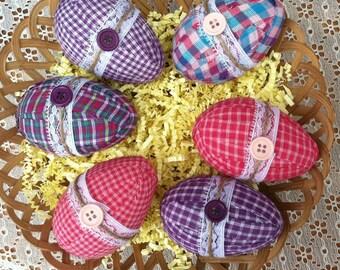 Easter Decor, Fabric Eggs, Easter Eggs, Spring Decor, Homespun Decor, Bowl Fillers, Easter Ornament, Shabby Decor, Eggs, Homespun, Primitive