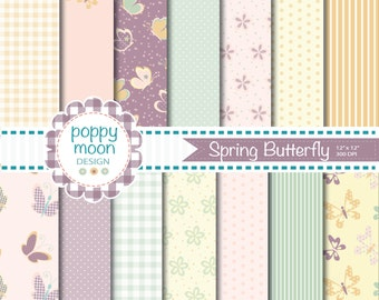 Pastel Butterfly, digital paper pack