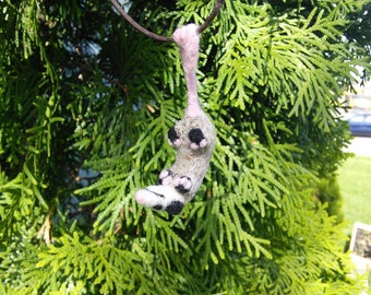 Opossum Necklace - needle felted hanging possum jewelry