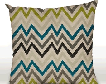 Pillow cover, decorative cushions in Chevron Turquoise fabrics, several sizes