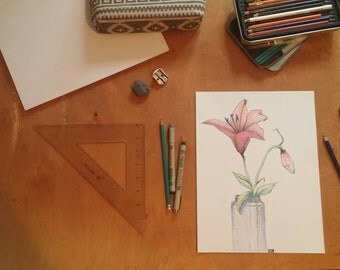 Original, hand-drawn in colored pencil- Flowers in a glass