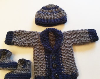 3 Set Crochet Baby Nest Sweater, Hat and Booties - Blue and Gray Baby Cardigan, Beanie and Boots