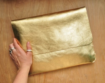 Personalised Simple GOLD Leather Clutch / Laptop Case / Carry All