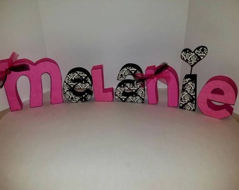 Pink and black wood name letters - pink and black letters - wood name letters - wood letters - pink and black letters - PRICE PER LETTER