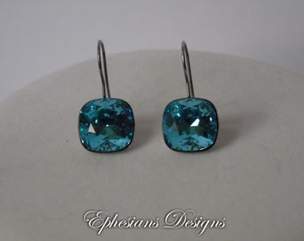 Aqua Swarovski Crystal Earrings