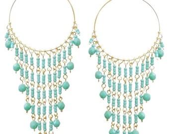 Turquoise Chandelier earrings, Long Chandelier earrings, Turquoise earrings, Blue Chandelier earrings, Chandelier Hoop Earrings, Hoops, Gold