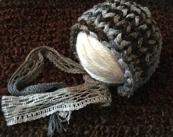 HandKnit Chunky Newborn Baby Bonnet- Earthtones