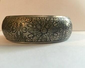 Sterling Silver Cuff Bracelets Flowers Hearts