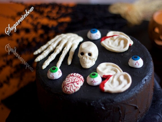 Edible sugar halloween cake decorations hand skull 3d for 3d printer cake decoration