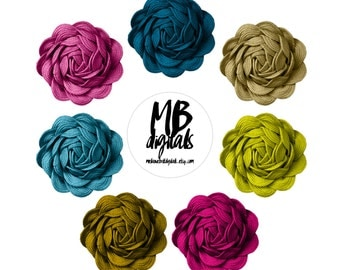FLOWERS, Textured Ribbon Flowers, Clipart Flowers, INSTANT DOWNLOAD