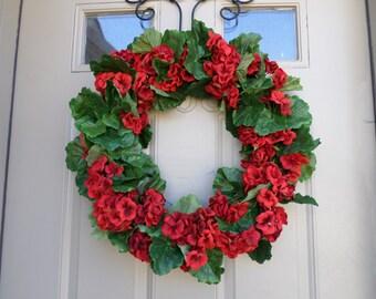 Full red spring/summer geranium wreath