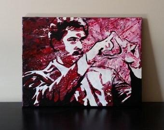 Triangle! Original Wall Art, Acrylic on 12x16 Canvas by Baker Joe Art