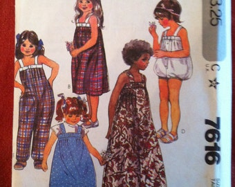 McCall's 7616 Pattern Girl's Dress and Jumpsuit 1981