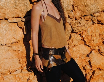 SALE 20% OFF top indígena4  handmade leather top in different browns, backless, with feathers and rivets