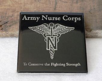 Army Nurse Corps Engraved Ceramic Coaster