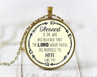 Large Blessed Necklace Christian Pendant Necklace Scripture Jewelry Scripture Necklace Inspirational Gift