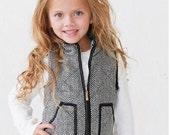 Childrens Monogrammed Herringbone Vest - Personalized Tweed Vest - Youth Vest