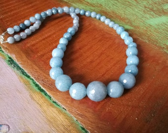 Blue Agate Faceted Necklace, Agate Necklace, Blue Beaded Necklace.