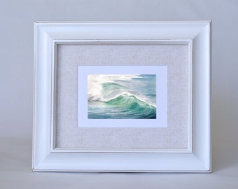 Blue Ocean Wave Wall Art - Ocean Art Print - Gift for Surfer - Beach House Decor -  Watercolor Seascape Print - Wave Art