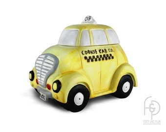 Yellow Taxi Cab Cookie Jar Cookie Cab Co. Made Expressly for R.H. Macy Co.