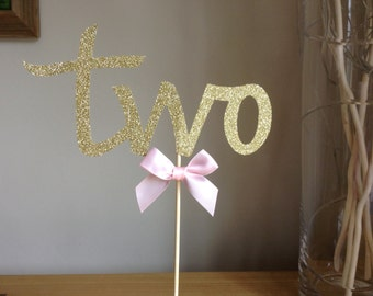 Gold TWO Birthday Cake Topper, 2nd Birthday Cake Topper, Gold Glitter TWO