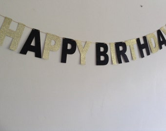 Black and Gold Birthday Banner, Black and Gold Party Banner, Bachelor Party Banner