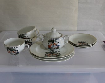 Four Symbols, I do Not Know What They Say, Fine China from Hong Kong, Very Collectible, Children, Fish Bowl, Green Dragon, Home Decoration