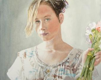 Portrait of woman holding flowers