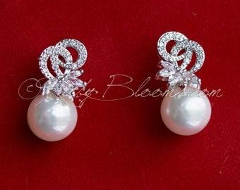 Art Deco Knot Earrings, CZ Silver Pearl Bridal Earrings, Cubic Zirconia Earrings, Wedding Accessory, Gift Bridesmaid Earring, Ruby Blooms