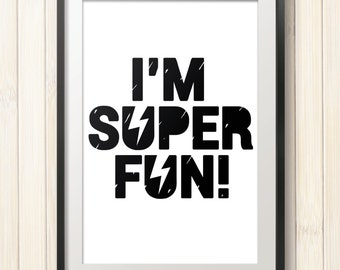 Black and white kids poster,superhero poster,little boys poster,scandinavian style,typography poster, kids room decor,nursery poster