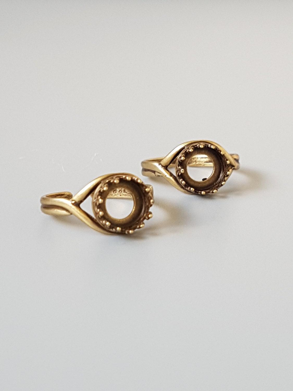 1 antique brass ring setting 8mm crown bezel adjustable
