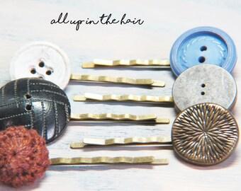 Button Bobby Pins - Button Hair Pins - Bobby Pin Set - Vintage Button Bobby Pins - Blue Bobby Pins - Blue Hair Pins - Black Bobby Pins