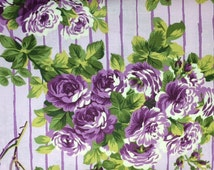 FreeSpirit - Glorious Garden Collection (ROSE STRIPES - LILAC) 100% Cotton Premium Fabric - sold by 1/2 yard